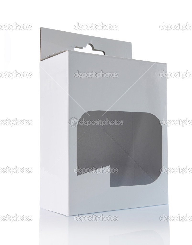 White box with transparent plastic window. isolated over white background — Stock Photo #10494502