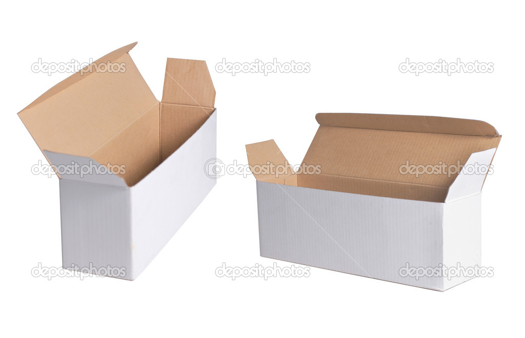 Open cardboard box in some different angle of shoot. isolated on white background — Stock Photo #10494896