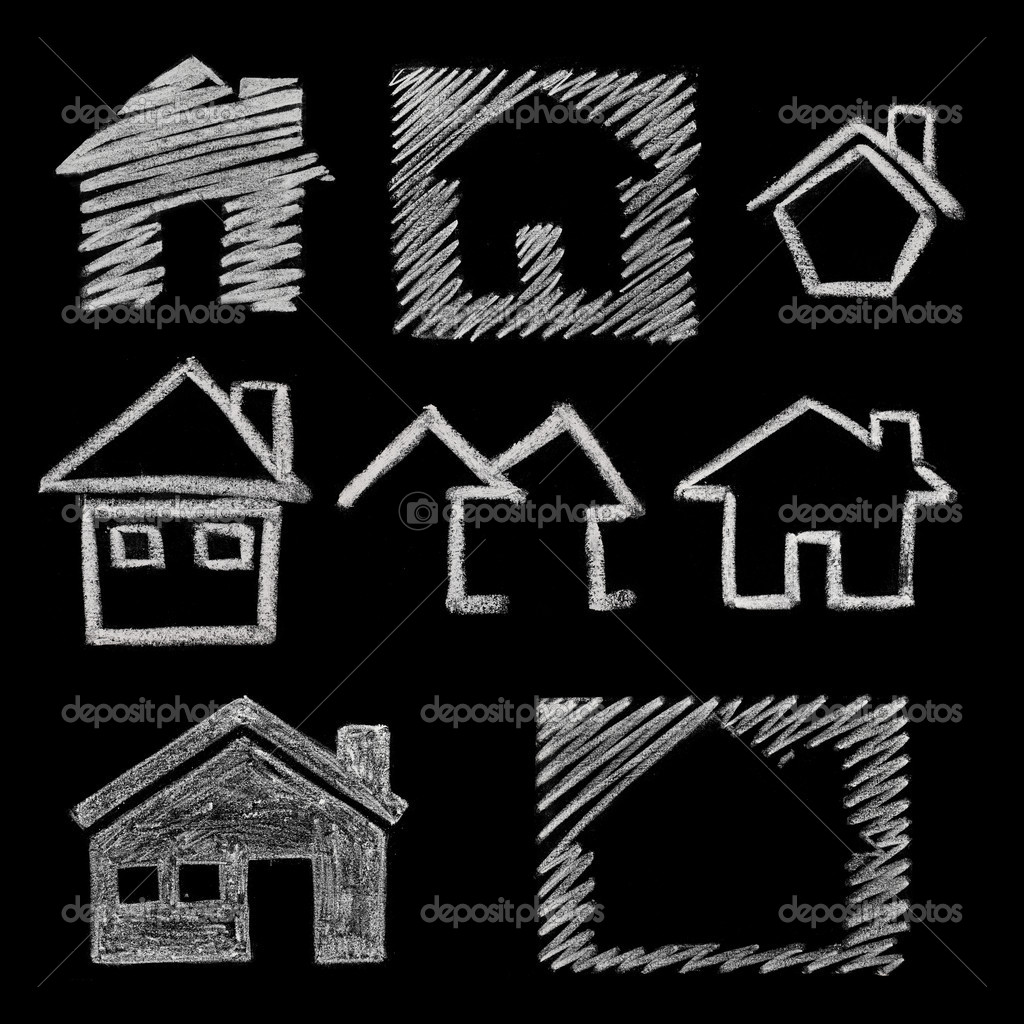 House icon variations, hand drawn on blackboard — Stock Photo #10495290