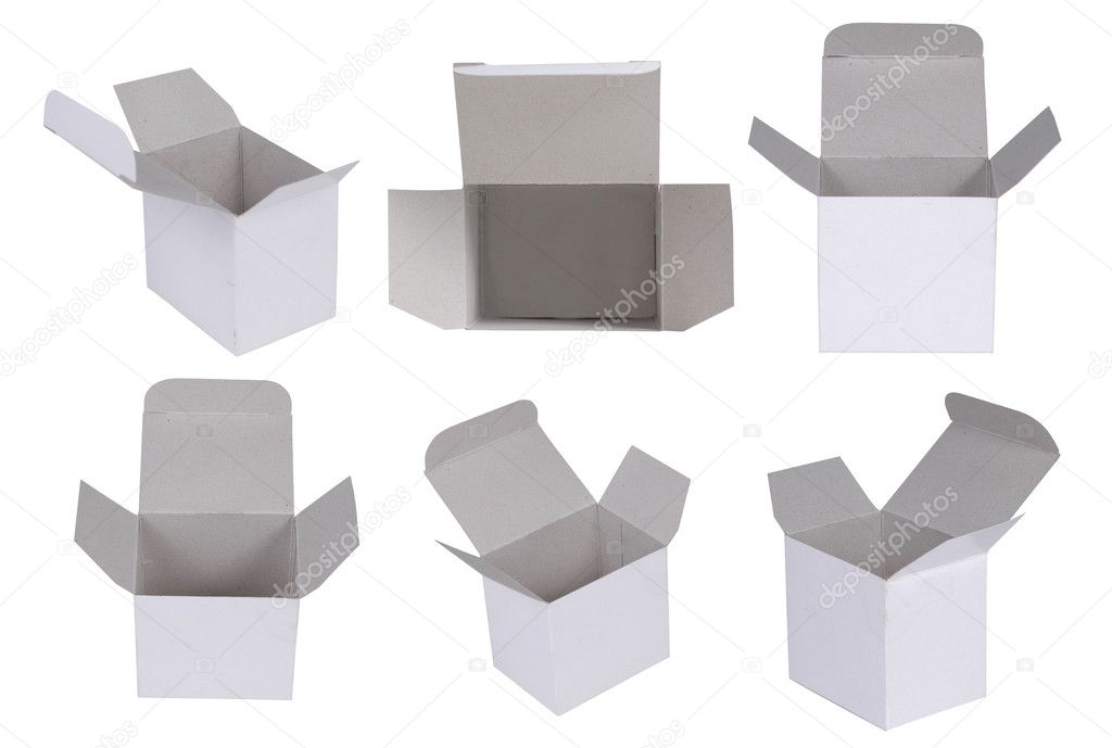 Open cardboard box in some different angle of shoot. isolated on white background  Stock Photo #10495471