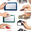 Stock Photo: Set of hand holding electronic devices