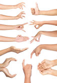 Set of many different hands gesture — Stock Photo
