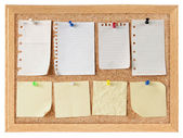 Collection of note papers on cork board — Stock Photo