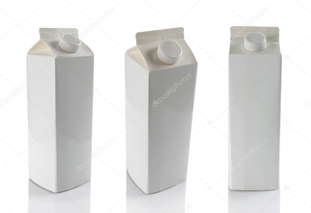 Still life of milk boxes in some different angle isolated over white — Foto de Stock   #10564673