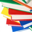 Pile of many colorful books — Stock Photo