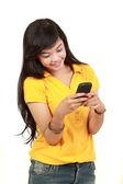 Mladá dívka text zprávy — Stock fotografie