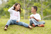 Two kids outdoor having a chat — Stock Photo