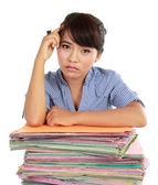 Young woman stressed at work — Stock Photo
