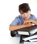 Portrait of young stressed business women — Stock Photo