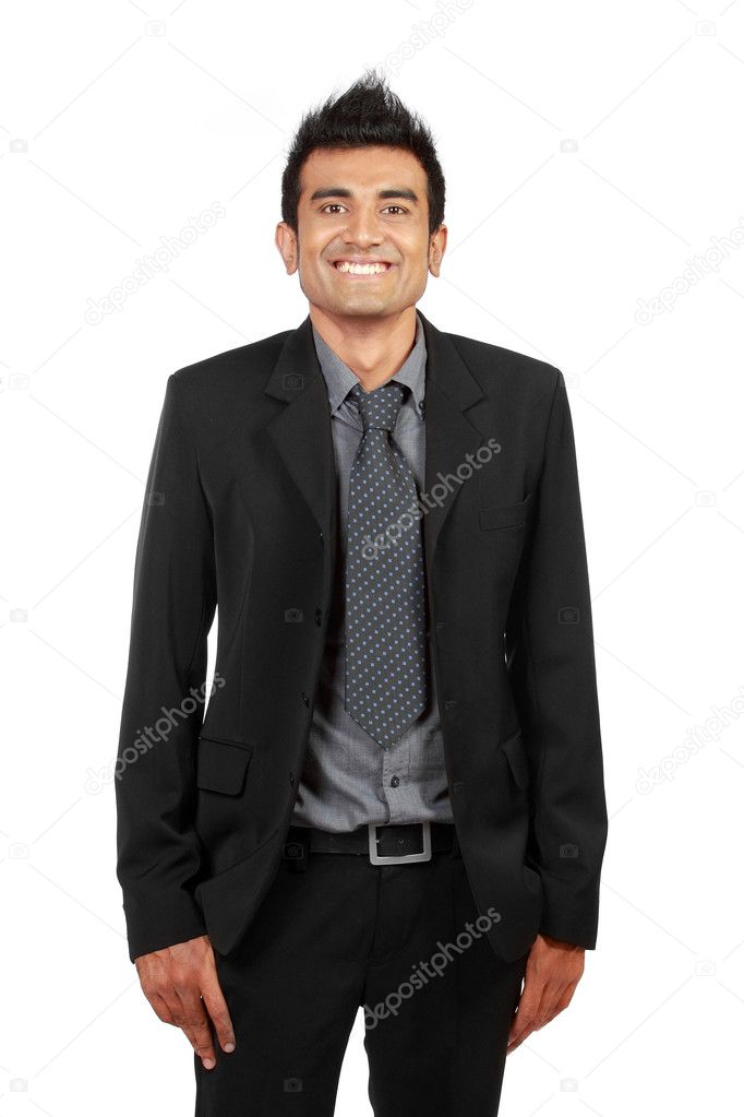 Handsome smiling businessman. Isolated over white background — Stock Photo #10636768