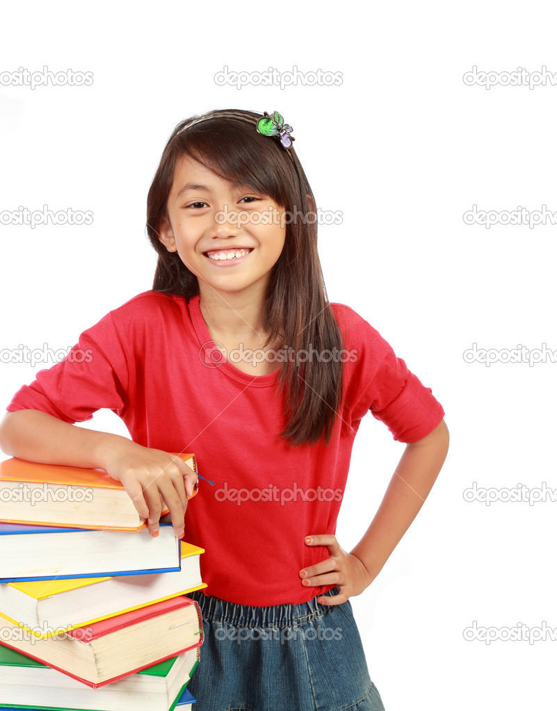Happy time for little girl with her books. isolated on white backgroud — Stock Photo #10636954