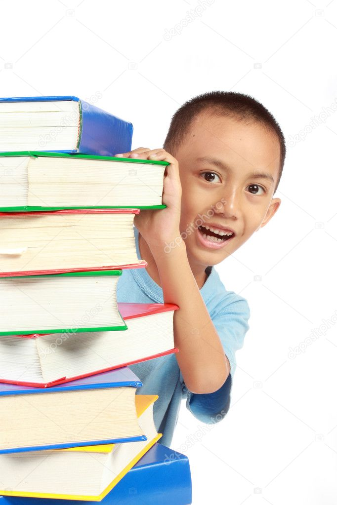Little child hidding behind the pile of book isolated on white background — Stock Photo #10637064