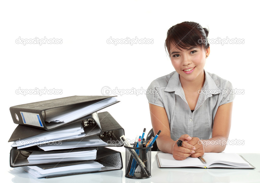 Asia Smiling business woman working. isolated over white background — Stock Photo #10637999