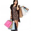 Cute Young asian Woman with Shopping Bags — Stock Photo