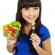 Stock Photo: Pretty girl eating fruit salad, healthy fresh breakfast, dieting