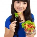 Pretty girl eating fruit salad, healthy fresh breakfast, dieting — Stock Photo #10670965