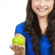Portrait of young beauty woman with green apple — Stock Photo #10671018