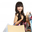 Shopping woman happy smiling holding shopping bags — Stock Photo #10671023