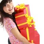 Noel hediyeler Santa şapka tutan kadın — Stok fotoğraf