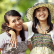 Multi ethnic friend smiling outdoor — Stock Photo