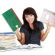 Woman and a stack of book — Stock Photo