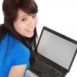 Top view of a woman using a laptop in isolated background — Stock Photo