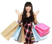 Shopping woman very excited — Stock Photo