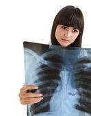 Hemşire hastanın göğüs röntgeni seyir — Stok fotoğraf