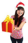 Attractive young women with the gift — Stock Photo