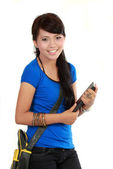 College student holding text book and hanging bag — Stock Photo
