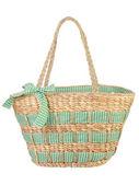 Piękny zielony wiklinowe torby — Zdjęcie stockowe