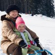 Sledding at winter time — Stockfoto