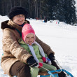 Sledding at winter time — Stock Photo