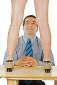 Businessman wondering at woman legs — Stock Photo