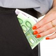 Woman take out the money from the pocket — Stock Photo
