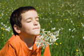 Boy smelling flowers — Stock Photo