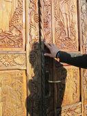 Holz dekorierte Tür — Stockfoto