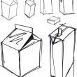Sketch of milk boxes in some different angle. Vector illustration — Imagen vectorial