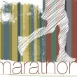 Marathon runner in abstract background. Vector illustration - Stock Vector