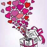 礼品盒草绘满多的爱。矢量插画 — 图库矢量图片