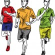 Sketch of men marathon runners. Vector illustration - Stock Vector