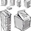 Sketch of milk boxes in some different angle. Vector illustration — Vector de stock