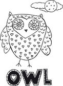Drawing of an owl. vector illustration — Stock Vector