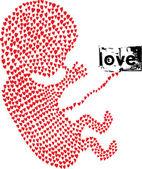 用爱作的胎儿。矢量插画 — 图库矢量图片