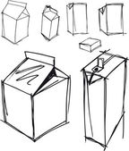 Sketch of milk boxes in some different angle. Vector illustration — Vecteur