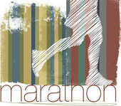 Marathon runner in abstract background. Vector illustration — Stock Vector