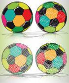 Bosquejo de fútbol bola, ilustración vectorial — Vector de stock