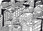 Sketch of abstract city. Vector illustration — Stockvector