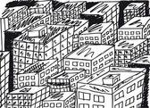 Abbozzo di città astratta. illustrazione vettoriale — Vettoriale Stock