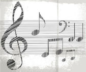 Sketch of music notes. vector illustration — Stock Vector